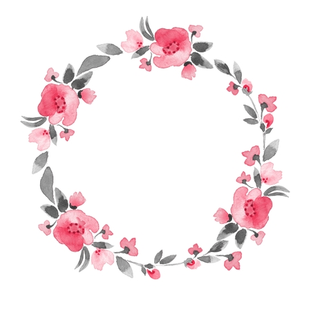 wreath: Simple floral wreath. Watercolor flowers 4