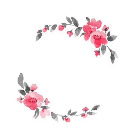 Simple floral wreath. Watercolor flowers Illustration