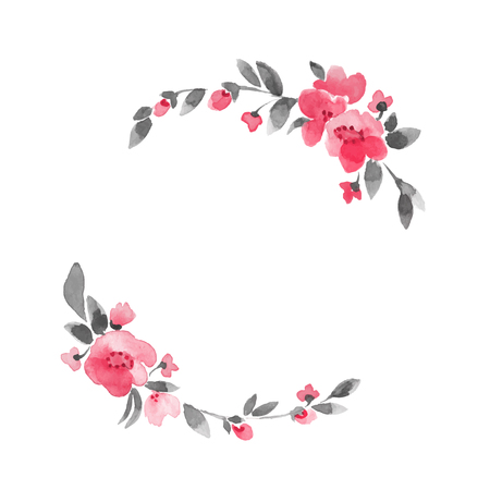 Simple floral wreath. Watercolor flowers Vettoriali