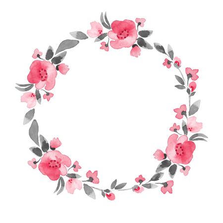 Simple floral wreath. Watercolor flowers  イラスト・ベクター素材
