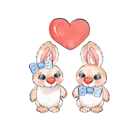 cute love: Cartoon rabbits