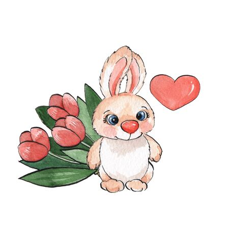 flower designs: Cartoon rabbits. Watercolor illustration