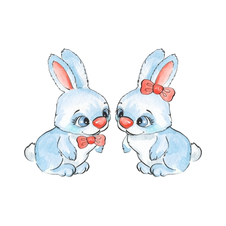cute love: Cartoon rabbits. Watercolor