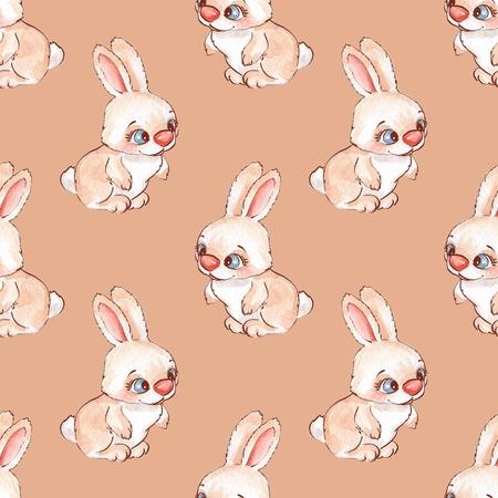 fashion pattern: Cartoon rabbits. Seamless pattern