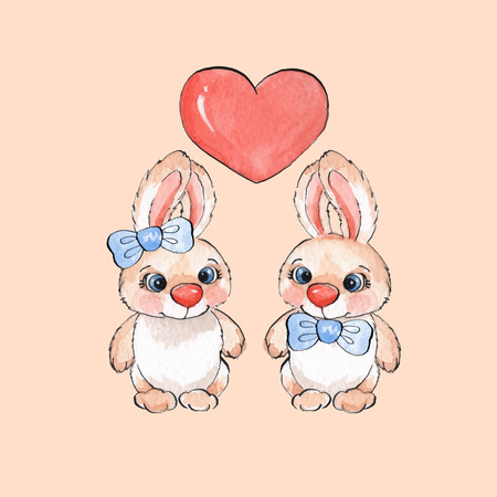 cute love: Cartoon rabbits. Watercolor illustration