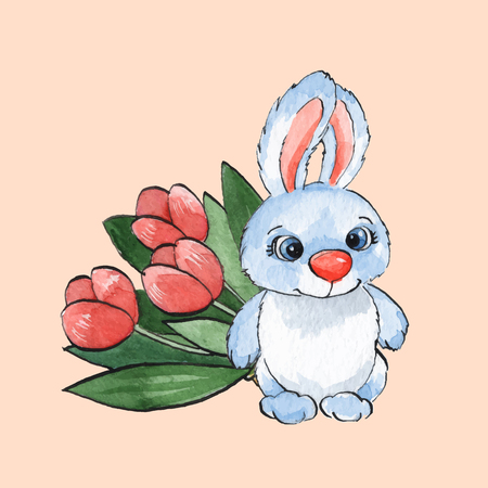 flower white: Cartoon rabbits. Watercolor illustration