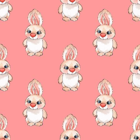 painted the cover illustration: Rabbits Watercolor seamless pattern in vector