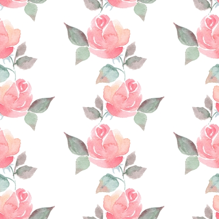 artistic flower: Background with beautiful roses. Seamless pattern with hand-drawn flowers