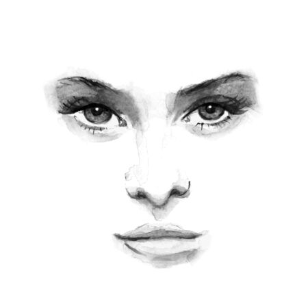 nostrils: beauty face 1. Black and white watercolor in vector