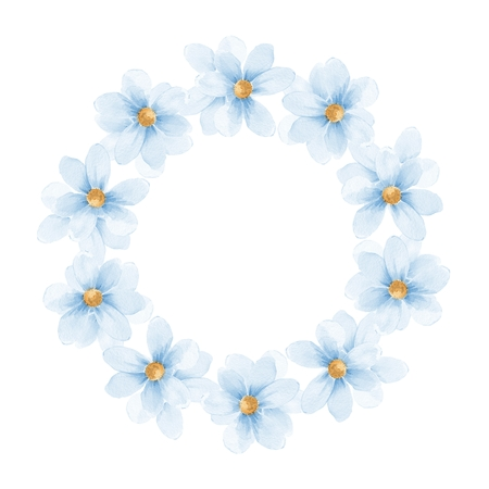 flower illustration: Delicate floral set. Round frame 30 Stock Photo