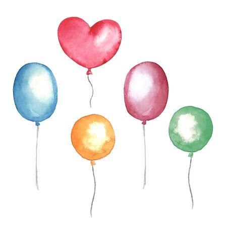 Balloons. Watercolor set in vector Vector Illustration