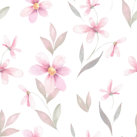 delicate: Delicate floral set. Seamless pattern 40 Stock Photo