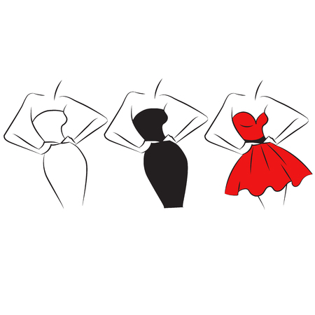 silhuette: Fashion silhuette set. White, black and red dress Illustration