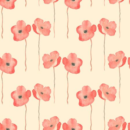 delicate: Delicate watercolor flowers. Seamless floral pattern Stock Photo