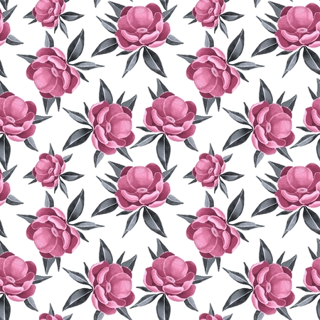 painted the cover illustration: Peonies. Seamless pattern 1.
