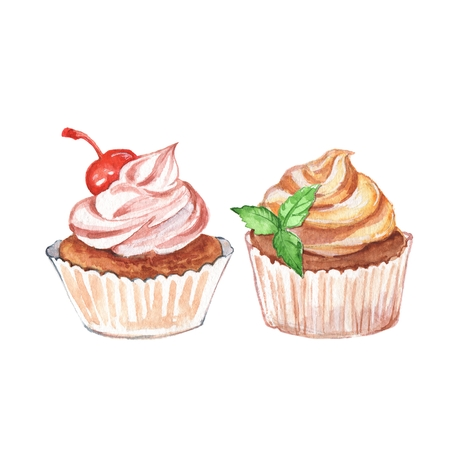 cupcakes isolated: Cupcakes. Watercolor dessert, isolated on white background