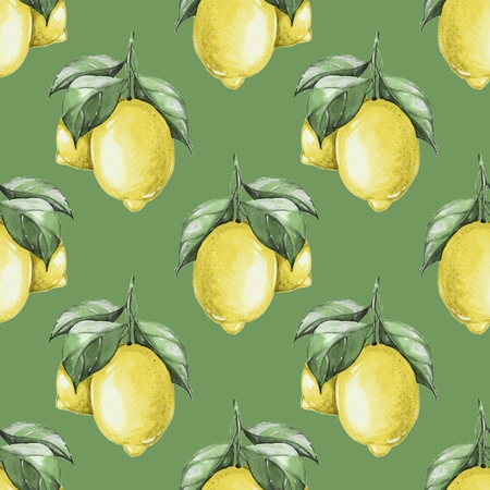 citrus tree: Lemons. Watercolor seamless pattern Stock Photo