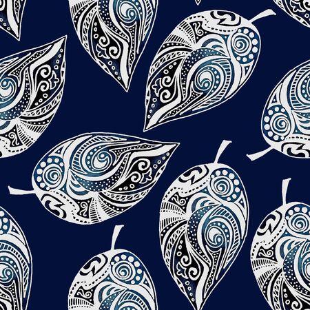 alfa: Decorative leaves. Seamless pattern 8