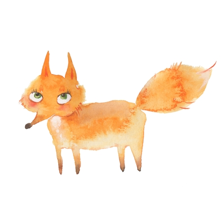 Animal set. Fox. Watercolor illustration, isolated on white