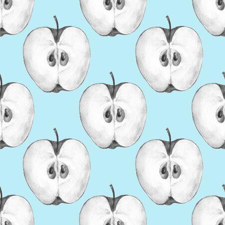 apple slice: Pattern with apple slice 2. Seamless background
