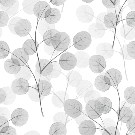 Branches with round leaves. Watercolor background. Seamless pattern 11