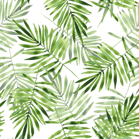 Palm leaves. Watercolor seamless pattern 2 Stock Photo