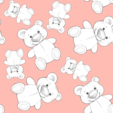 Cute teddy. Seamless pattern. Background for design 3 Standard-Bild - 122039521