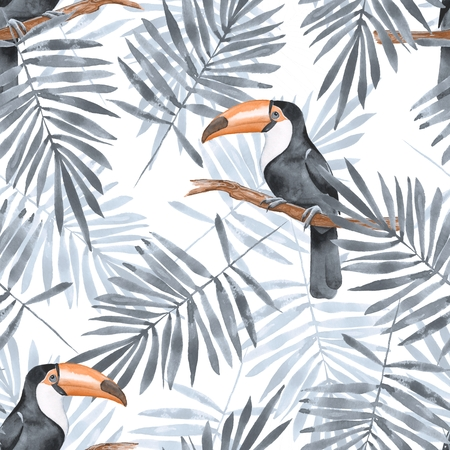 Palm leaves and Toucan. Watercolor seamless pattern 2 Stock Photo