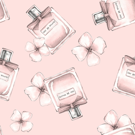 scent: Bottle of perfume and flowers. Seamless pattern 3