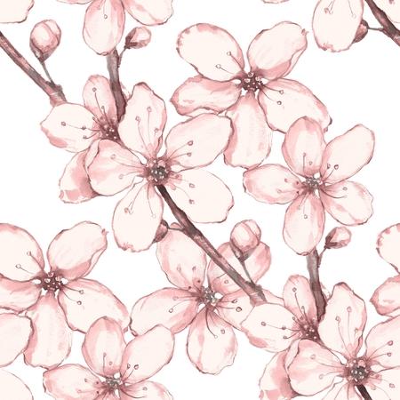 japanese garden: Japanese garden 4. Watercolor seamless floral pattern