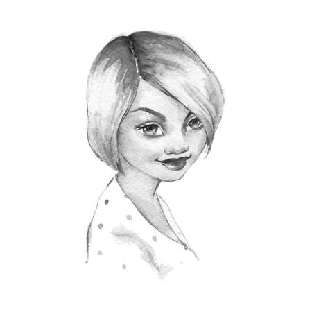 girl short hair: Girl with short hair. Black and white illustration. Beautiful female face. Watercolor portrait