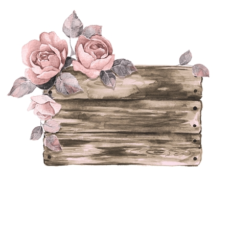 Wooden sign and flowers. Watercolor illustration. Hand drawn elements for design 1 Stock Photo