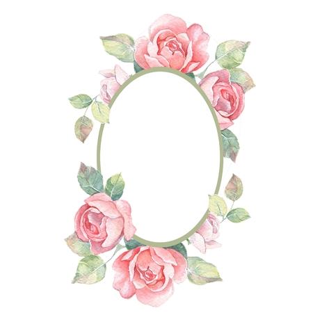 美しい花のフレーム。水彩イラスト 1 写真素材