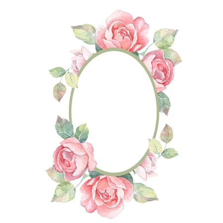 Beautiful floral frame. Watercolor illustration 1 Stock Photo