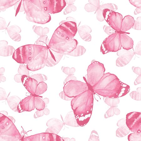 butterfly background: Butterfly. Watercolor background. Hand-drawn seamless pattern 13