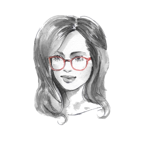 girl glasses: Girl with glasses 1. Watercolor sketch. Fashion illustration