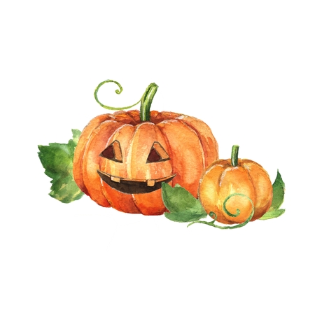 Halloween pumpkin. Watercolor painting
