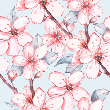japanese garden seamless floral pattern watercolor painting flowers and leaves photo