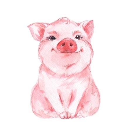 재미 있은 돼지. 귀여운 수채화 그림