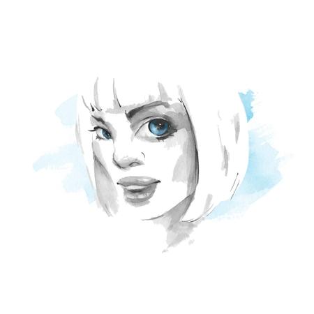 sensual: Woman face. Fashion watercolor illustration Stock Photo