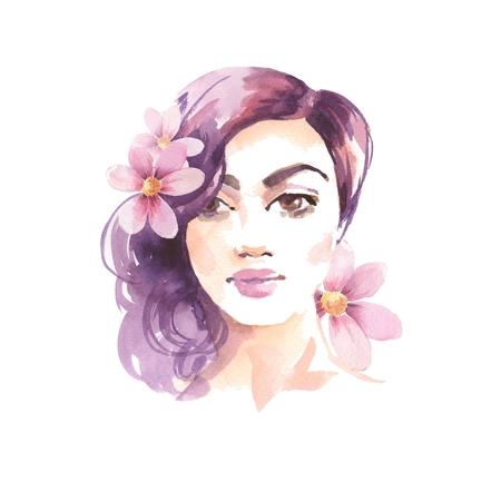 Donkerbruin meisje. Waterverfschets. Vrouwelijk gezicht en bloemen Stockfoto