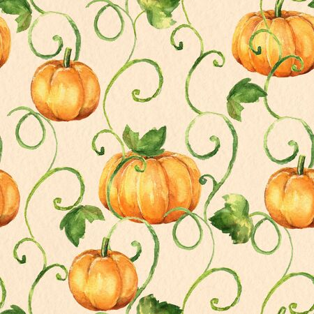 duvet: Pumpkins. Seamless watercolor pattern. Background with old paper texture