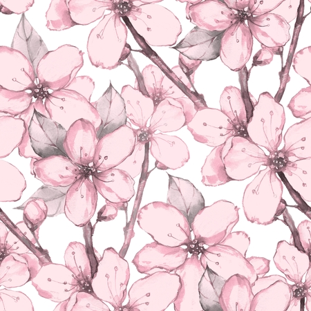 japanese garden: Japanese garden. Watercolor seamless floral pattern Stock Photo