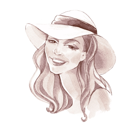 Girl in a hat. Fashion sketch. Hand drawn illustration. Watercolor female face Stock Photo