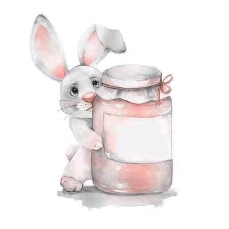get well soon: Get well soon. Watercolor card with rabbit Stock Photo