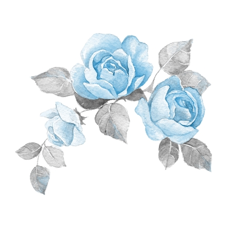 Floral branch with roses. Isolated on white background. Watercolor painting Archivio Fotografico