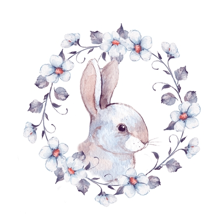White rabbit. Rabbit and floral wreath 2. Watercolor illustration 写真素材