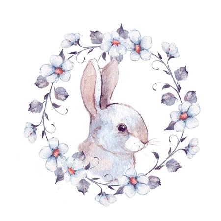 White rabbit. Rabbit and floral wreath 2. Watercolor illustration Banque d'images