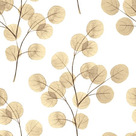 gold leaf: Branches with round leaves. Watercolor background. Seamless pattern 5