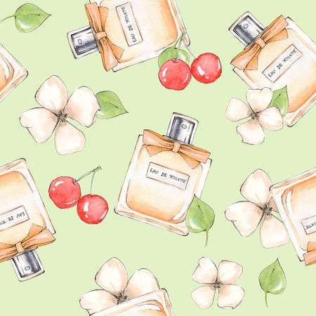 Bottle of perfume and flowers. Seamless pattern 7. Hand drawn fashion background